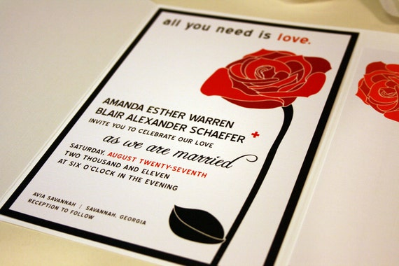 All You Need Is Love Wedding Invitations: All You Need Is Love Red Rose Wedding Invitations Black And
