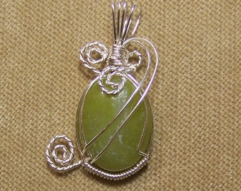 Natural Olive Green NEW JADE Sterling Silver Plate Wire Wrap Necklace Pendant SALE