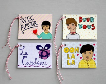 Gift Tags - French Tags - Pack Of Eight