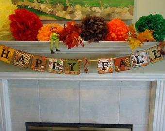 Thanksgiving Banner-Halloween Banner-Happy Fall Banner-Rustic Fall Garland-Happy Fall Sign-Thanksgiving Garland-Fall Photo Prop-Happy Fall