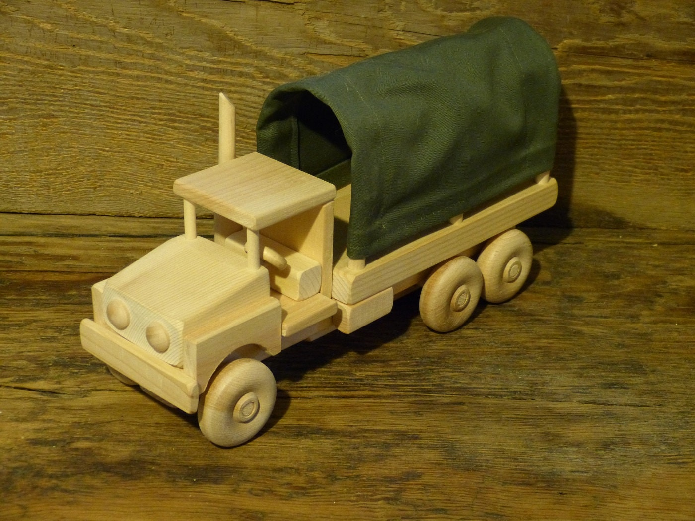 Wooden Toy Trucks : Wood toy truck army wooden toys canopy handmade