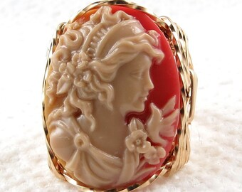 Grecian Goddess Dove Cameo Ring 14K Rolled Gold Jewelry Any Size