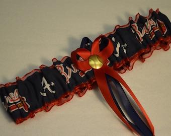 Handmade wedding garter toss ATLANTA BRAVES bridal set red/blue