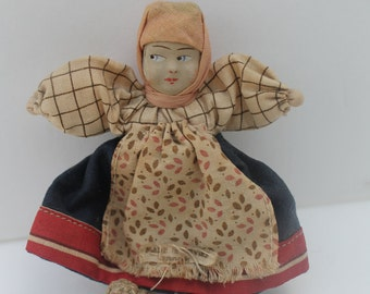 Vintage Cloth Doll Soviet Union Babushka 4 inches One Doll