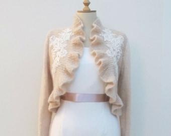 Bridal Ruffle Bolero Blush Pink Rhinestone Crystal Beaded Lace Long Sleeve Wedding  Wrap Capelet