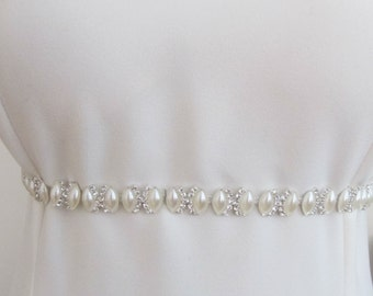 Bridal Crystal Pearl Beaded  Belts  Trim Wedding Sashes Belt Thin Pearl Trims Pearl Sashes Bride Ivory Sash