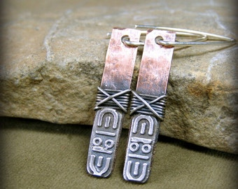 Tribal Stamped Native American Design Copper and Silver Dangle Earrings