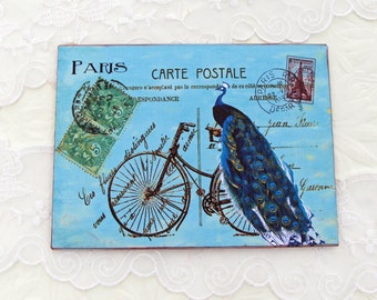 Bicycle Note Cards- Peacock Blank Note Cards  Paris Postcard Bridal Shower French High Tea Party- Thank You- Tour de France  Australia