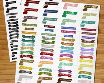 Instant Download Printable Retro Spice Labels for your DIY Kitchen Project