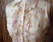 Vintage mod floral ruffle dress small