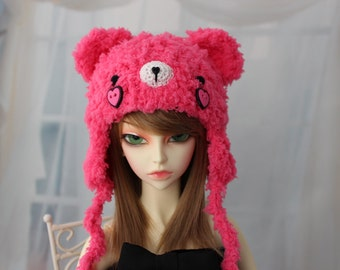 Bright Pink Bear Hat for SD BJD, 1/3 Doll, Size 8-9