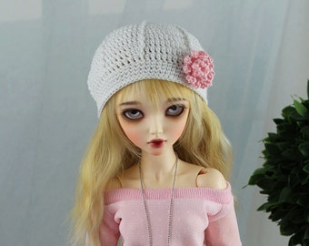 White Crochet Beret Hat for MSD BJD, 1/4 Dollfie, Minifee
