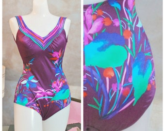 Tropical Swimsuit One Piece Maillot in Purple - 1970's - Small or Medium