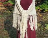 Shawl Ivory White Fisherman's Wool Fringed Triangle Hippie Western Wedding