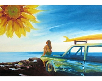 5x7 Greeting Card by Daina Scarola, Item #GC5X7-06 (surfer girl, surf mobile, ocean, sunflower)