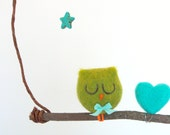 Owl Mobile for Baby's Nursery, Needle Felted Wool with a Delightful Turquoise Star