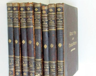 Antique Book Set Great Men and Famous Women Complete Set of 8