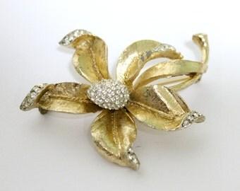 Vintage Rhinestone Brooch Pin Gold Tone 1950s Iris Flower Brooch