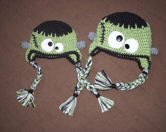 Monster Hat - Frankenstein made to order in sizes newborn to adult