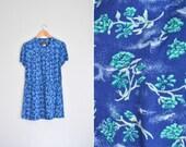 10 DOLLAR SALE! // Size XL // Floral Mini Dress // Short Sleeve - Cobalt Blue - Asian-Inspired Print - Babydoll - Vintage '80s.