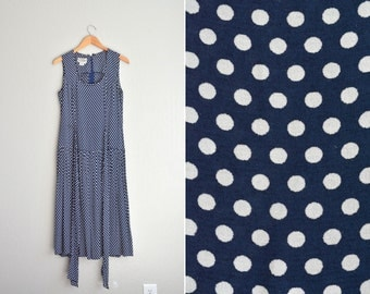 SALE / vintage '90s navy blue & white POLKA DOT sleeveless maxi dress. size m l.