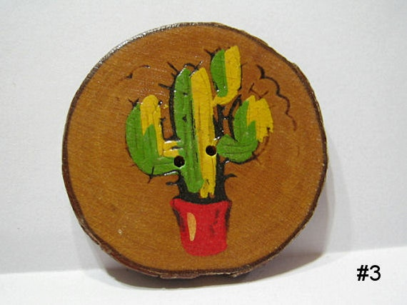 Vintage 50's Large Wood Burned and Painted Cactus Button #3