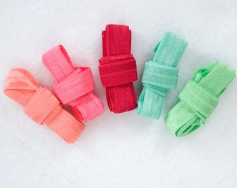 "COTTON CANDY  : 5 Yard Variety Pack 5/8"" inch FOE Fold Over Lingerie Elastic Neon Pink  Aqua Headbands Hair Ties"