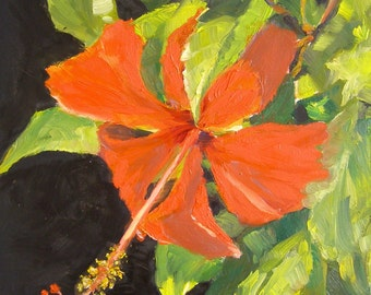 Psyche, 6x6 Oil Painting, Red Hibiscus Daily Painting on Canvas