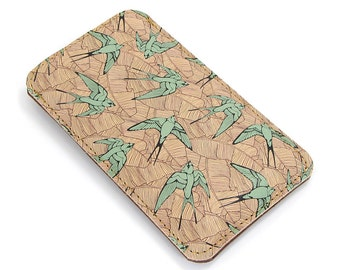 Leather iPhone case  / Smartphone case - Teal Swallows and leaf