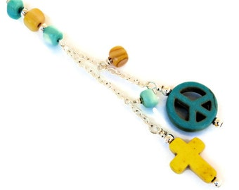 Yellow Cross and Turquoise Peace Sign Car Charm - Turquoise Peace Sign, Yellow Cross, Turquoise, Yellow and Silver Beads   C165