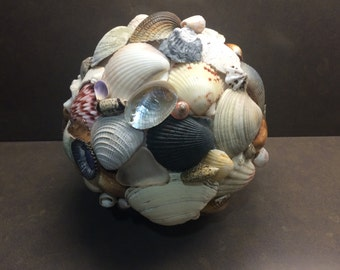 Large Seashell and Sea Glass Globe