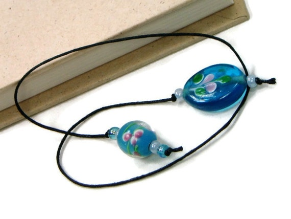 Book Thong Bookmark Aqua Blue Flower Pink Book String Book Cord Teacher Gift Bible Bookmark Cookbook