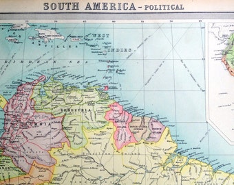 1922 Antique Map of South America - Political map - South America Antique Map - Very Large map