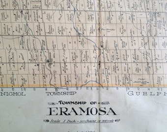 Antique Map of Eramosa Township, Wellington County, Ontario - 1906 Large Vintage Map
