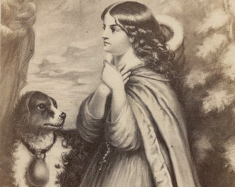 1860s - 1870s Antique CDV Photograph. Praying Woman and Her Dog
