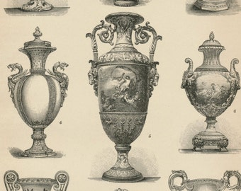 1895 German Antique Engraving of Vases