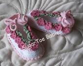 Newborn Baby Booties Pattern- Thread Crochet Posies worked in ONE row!