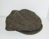 Vintage Touring Cap Quaker Marine Hat Pageboy Newsie Newsboy Wool Hat Size Large