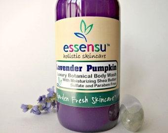 Lavender Pumpkin Aloe Nourishing Natural Botanical Body Wash   Vegan   Sensitive Skin   No Sulfates or Parabens   Celebrity Gifting - 4 oz