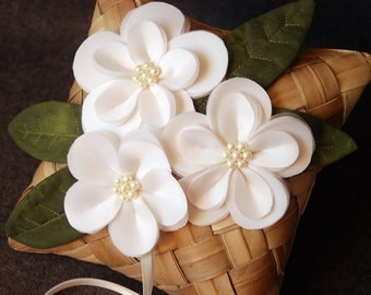 Ring Bearer Pillow - Banana Leaf Ring Pillow With Handmade Flowers and Leaves -  Gabrielle
