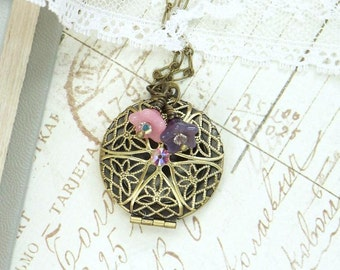 Round Locket Necklace Victorian Necklace Glass Flower Necklace Pink And Purple Necklace Locket Jewelry