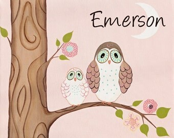 Kids Wall Art, Nursery Art Print for Baby Nursery Decor, Childrens Wall Art. - Cotton Candy Owls personalized 11x14 print