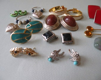 13 Pair of Vintage clip and pierced Earrings to include stone, Trifari