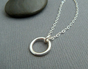 """silver ring necklace. small circle necklace. simple everyday jewelry. delicate silver necklace. sterling. minimalist. eternity ring. 3/8"""""""