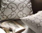 Barcelona and Quadritini hand printed taupe on natural gray and white linen decorative geometric home decor pillow cases set of 2