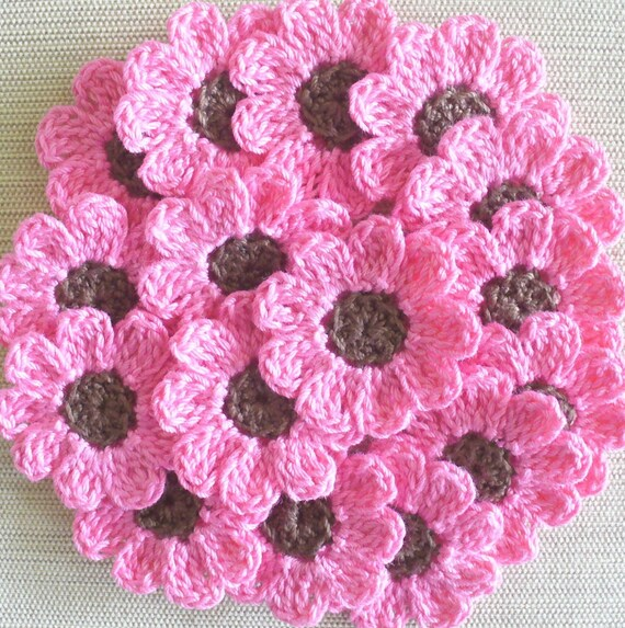 Candy Pink and Brown Crochet  Flowers, Appliques, Craft Supplies - set of 12