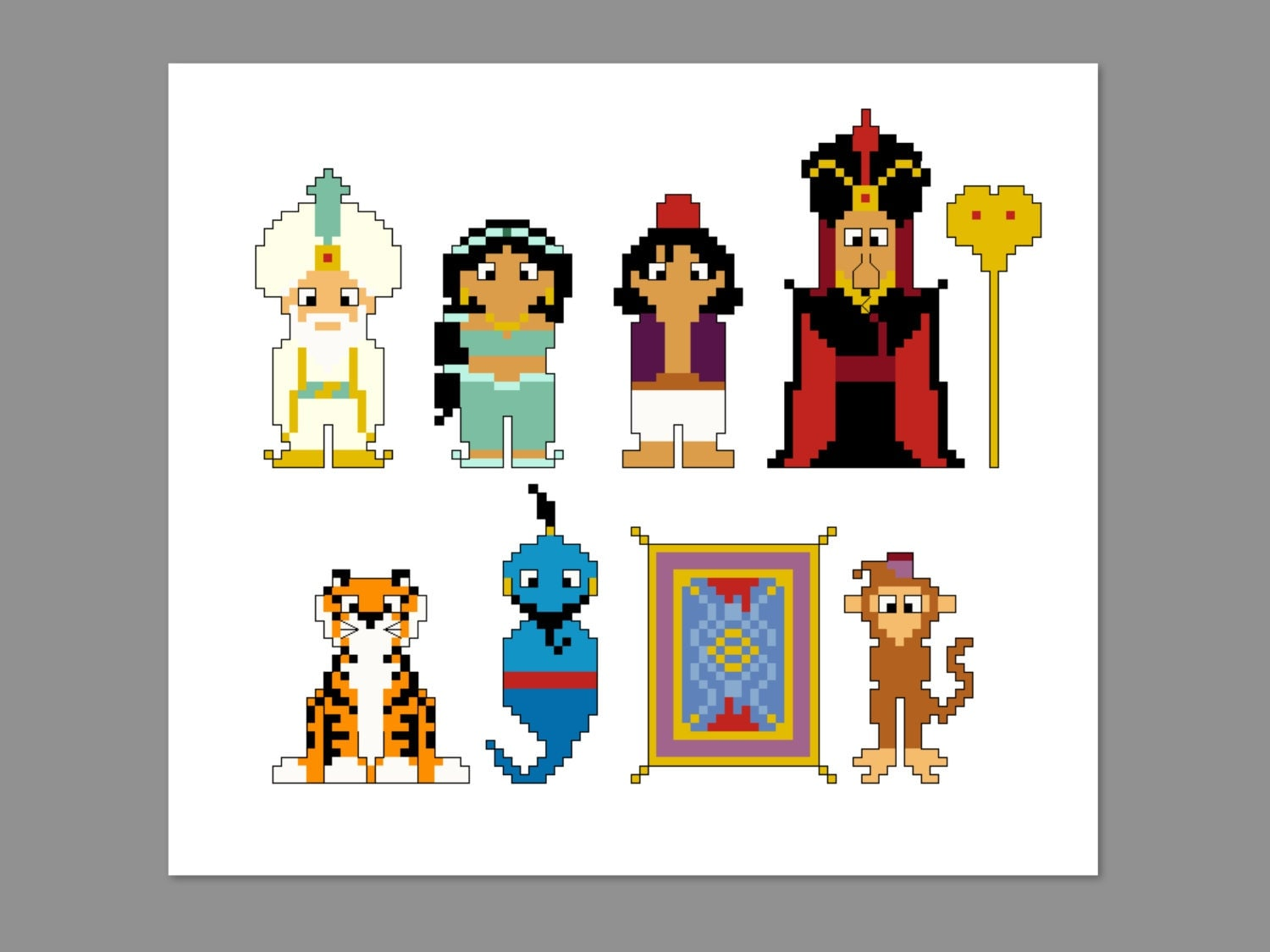 Aladdin Pixel People Character Cross Stitch Pdf Pattern Only