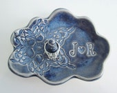 Blue Cloud wedding ring dish, Mr.and Mrs. monogram ring dish, personalized ceramic