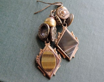 Victorian Watch Fob Earrings Vintage Assemblage Antique Buttons