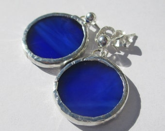 Royal Blue Round Stained Glass Post Earrings